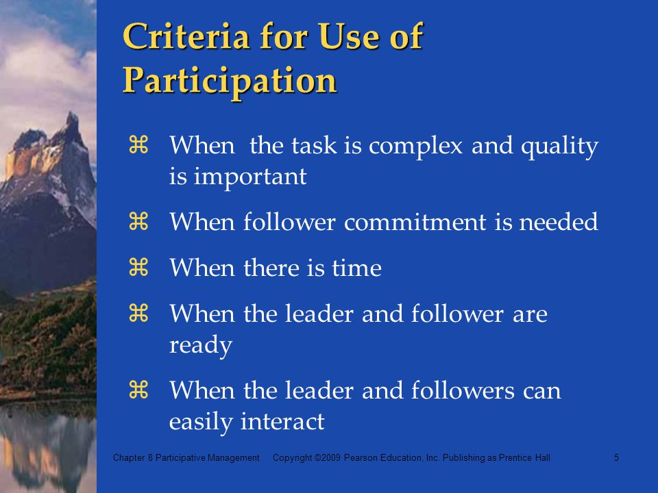 Criteria for Use of Participation