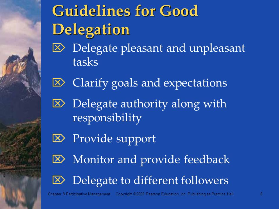 Guidelines for Good Delegation