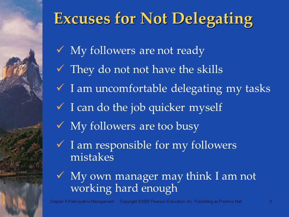 Excuses for Not Delegating