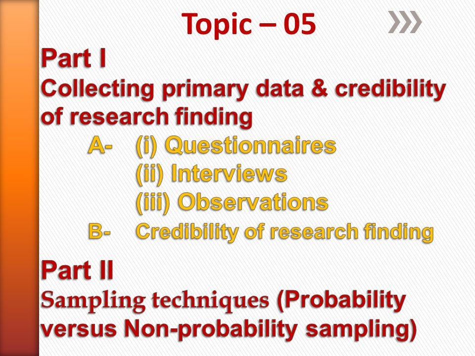 Primary research topics