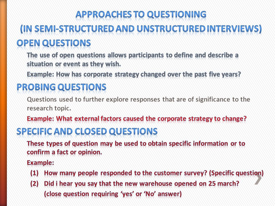 primary research interview questions A structured interview (also known as a standardized interview or a researcher-administered survey) is a quantitative research method commonly employed in survey research.