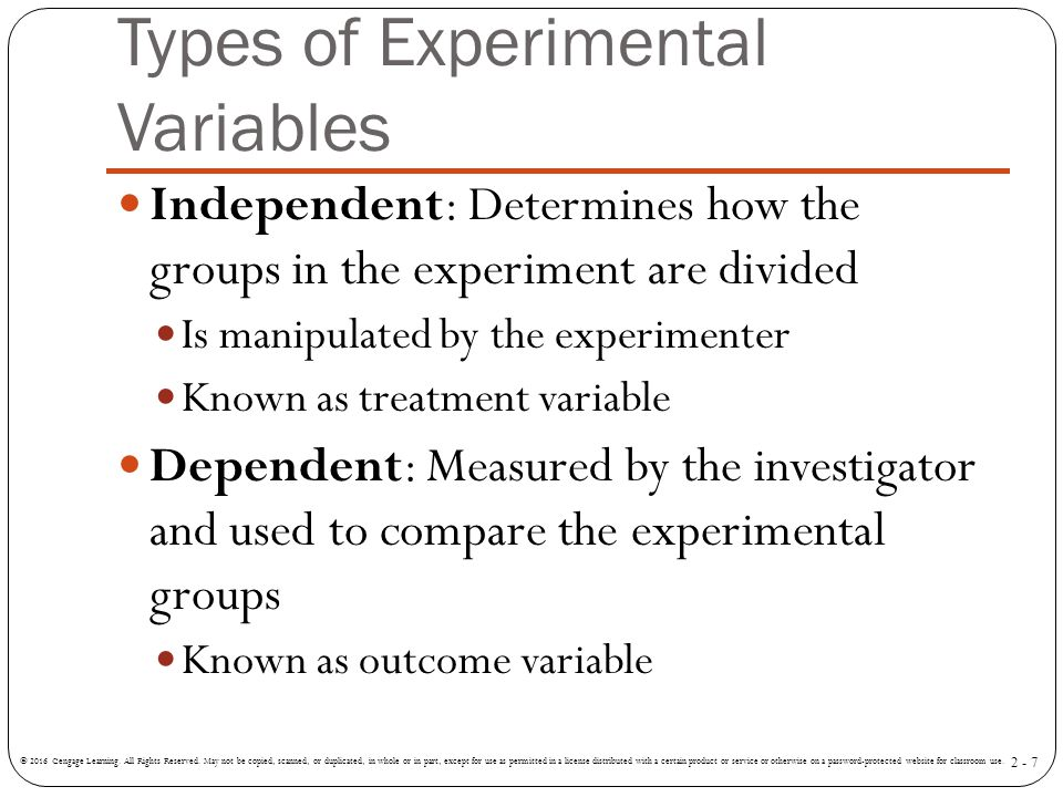 Types of Experimental Variables