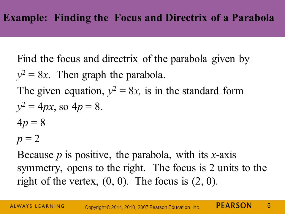 Example: Finding the Focus and Directrix of a Parabola