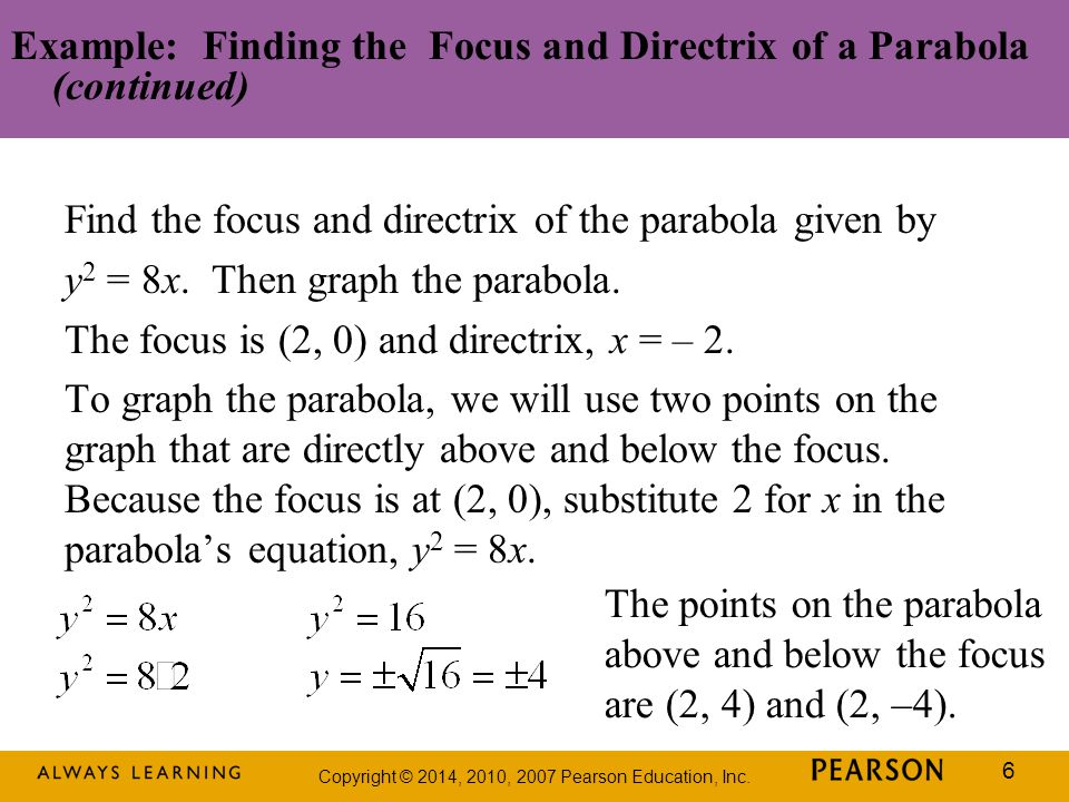 Example: Finding the Focus and Directrix of a Parabola (continued)