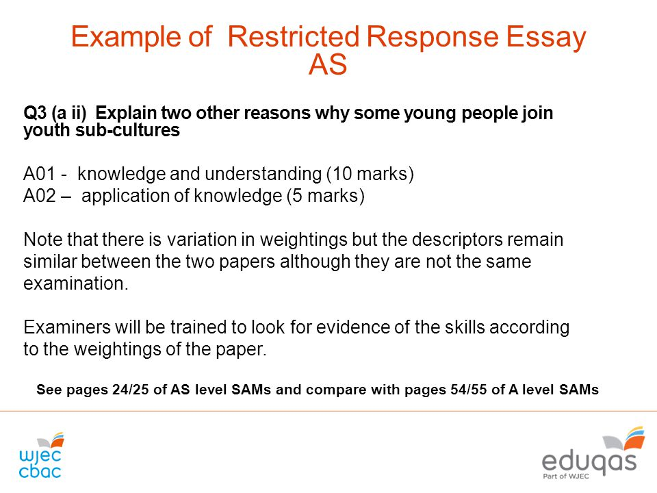 Restricted Response Essay Questions Examples