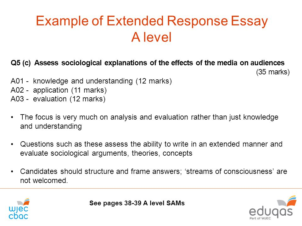 Extended response essay question