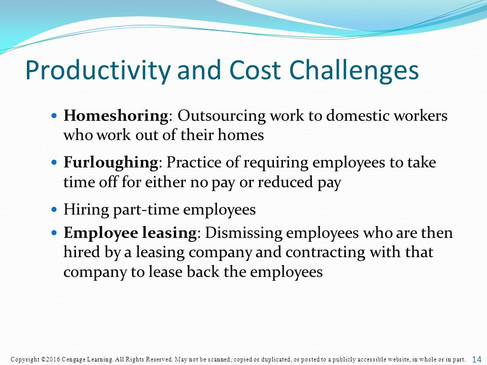 Productivity and Cost Challenges