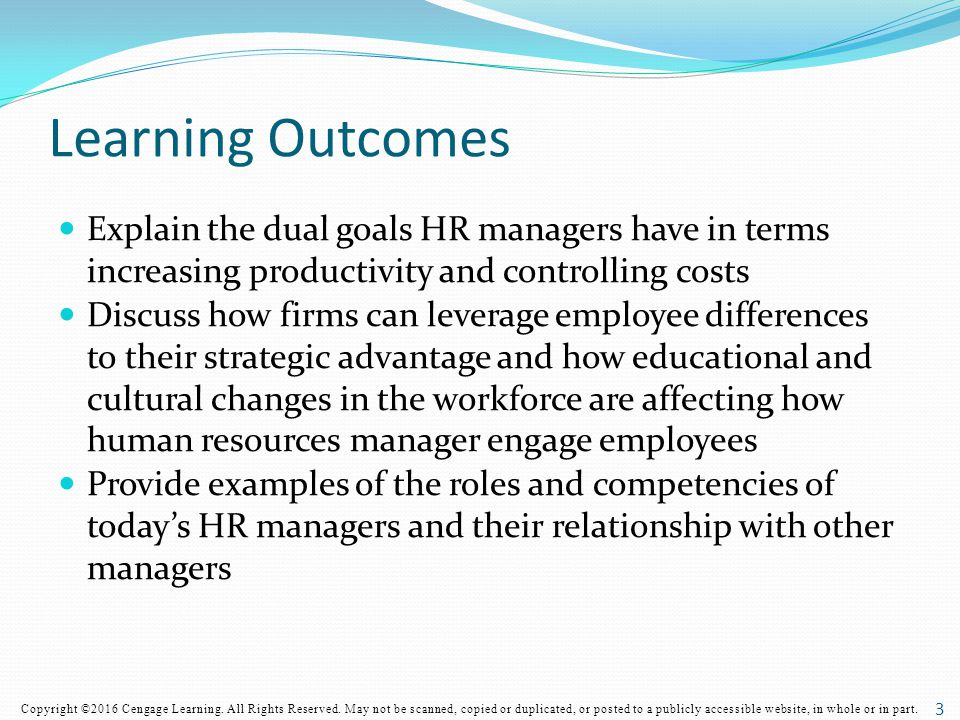 Learning Outcomes Explain the dual goals HR managers have in terms increasing productivity and controlling costs.
