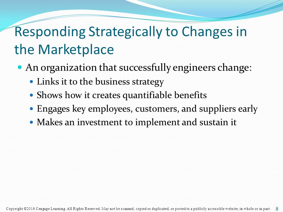 Responding Strategically to Changes in the Marketplace