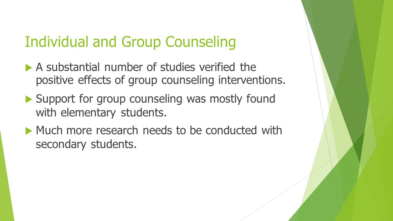Individual and Group Counseling