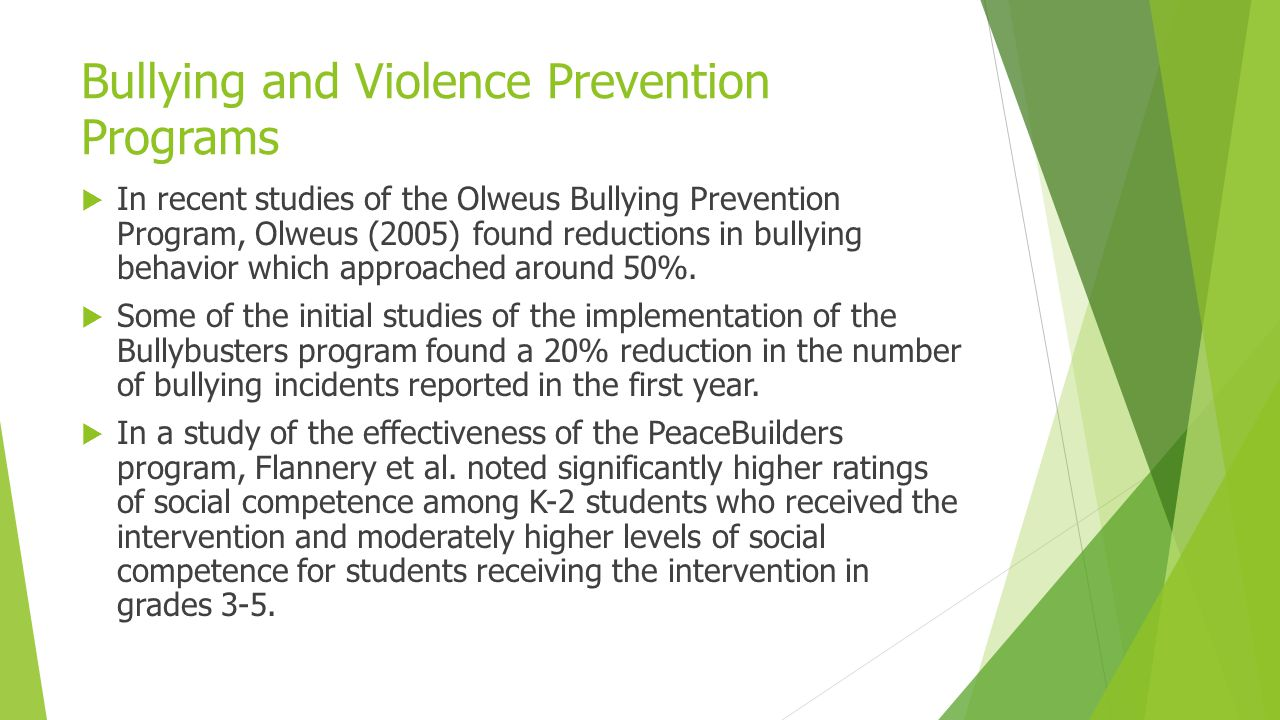 Bullying and Violence Prevention Programs