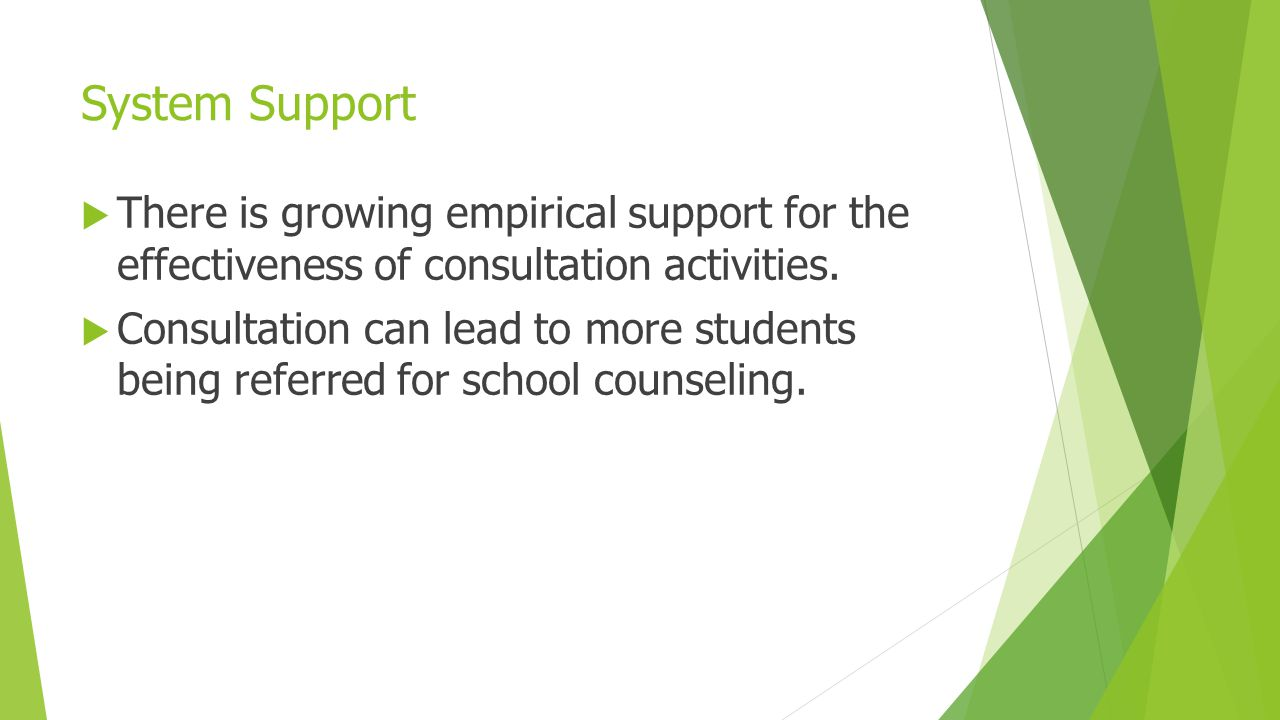 System Support There is growing empirical support for the effectiveness of consultation activities.