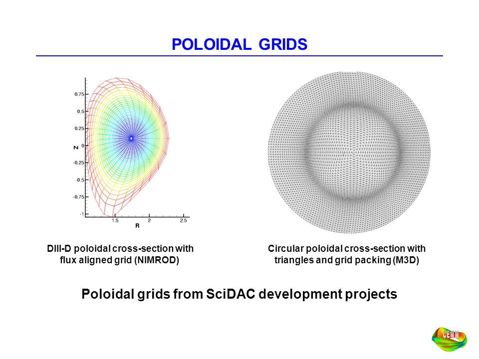 POLOIDAL GRIDS Poloidal grids from SciDAC development projects