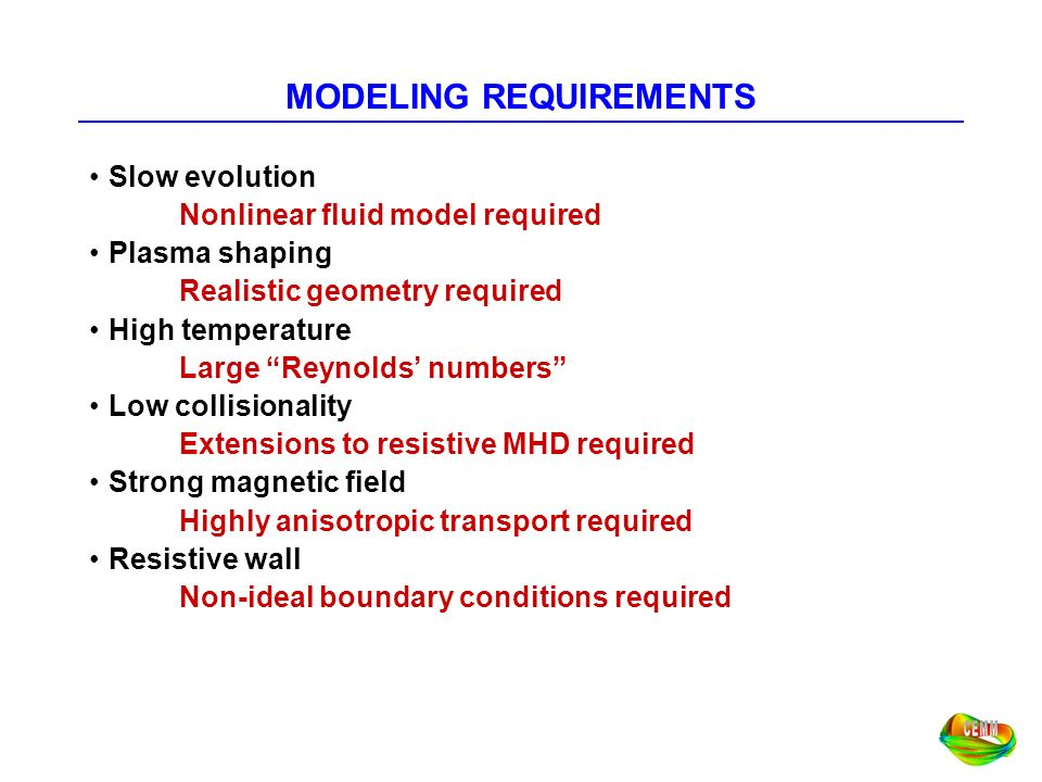 MODELING REQUIREMENTS