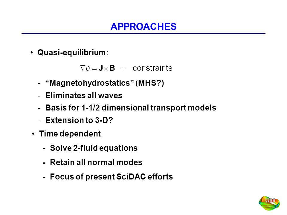 APPROACHES Quasi-equilibrium: Magnetohydrostatics (MHS )