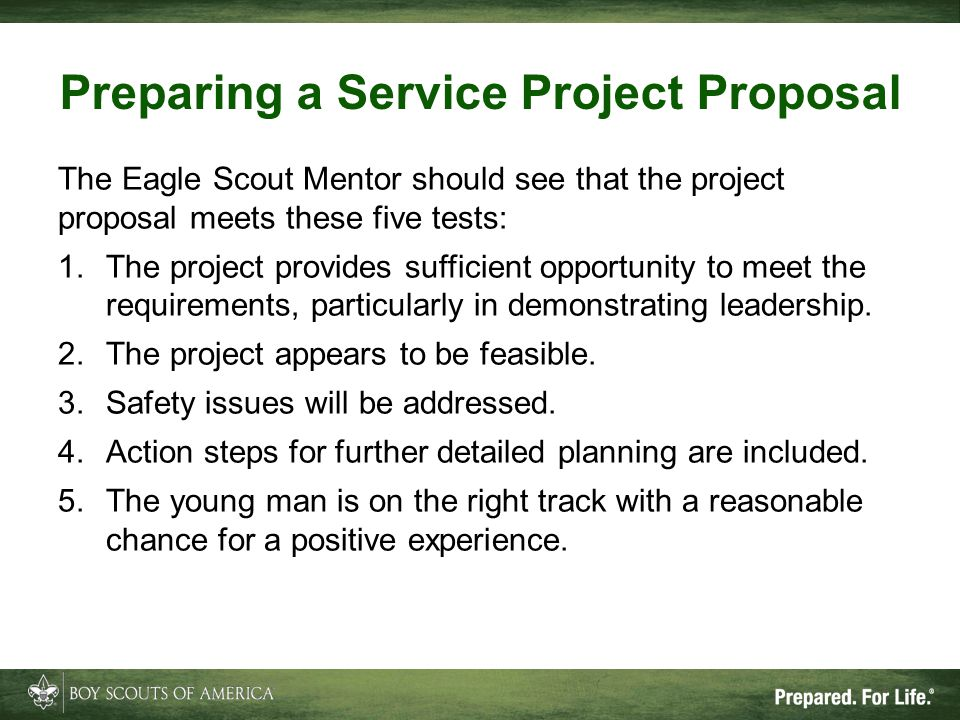 Preparing a Service Project Proposal