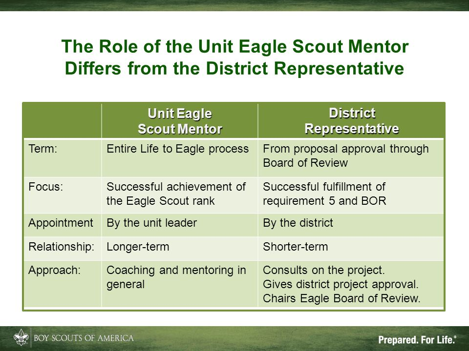 The Role of the Unit Eagle Scout Mentor Differs from the District Representative