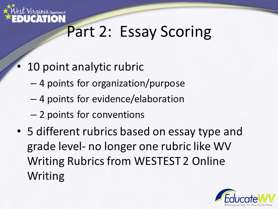 10 point essay rubric Grading rubrics: examples of rubric creation if you decide you feel more comfortable grading with an analytic rubric, you can assign a point value to each essay is clearly organized, but might benefit from more careful attention to transitional sentences scholarly ideas are.