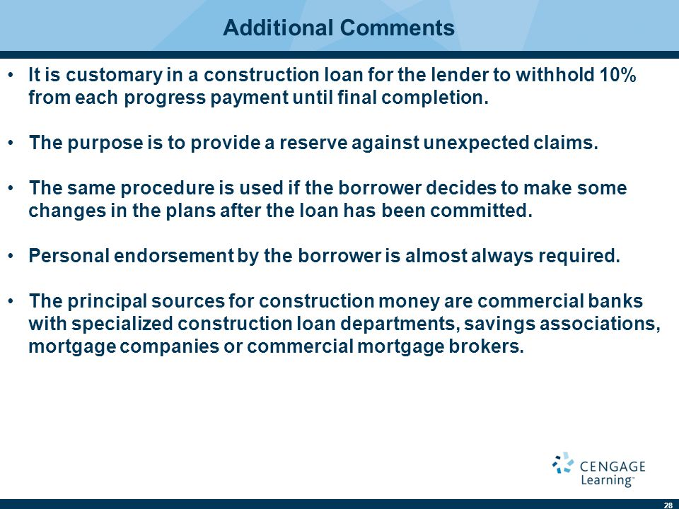 Real estate finance ninth edition ppt download for Typical bank construction loan disbursement schedule