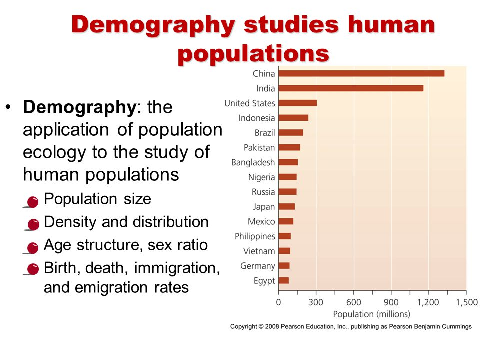showing demography through human populations