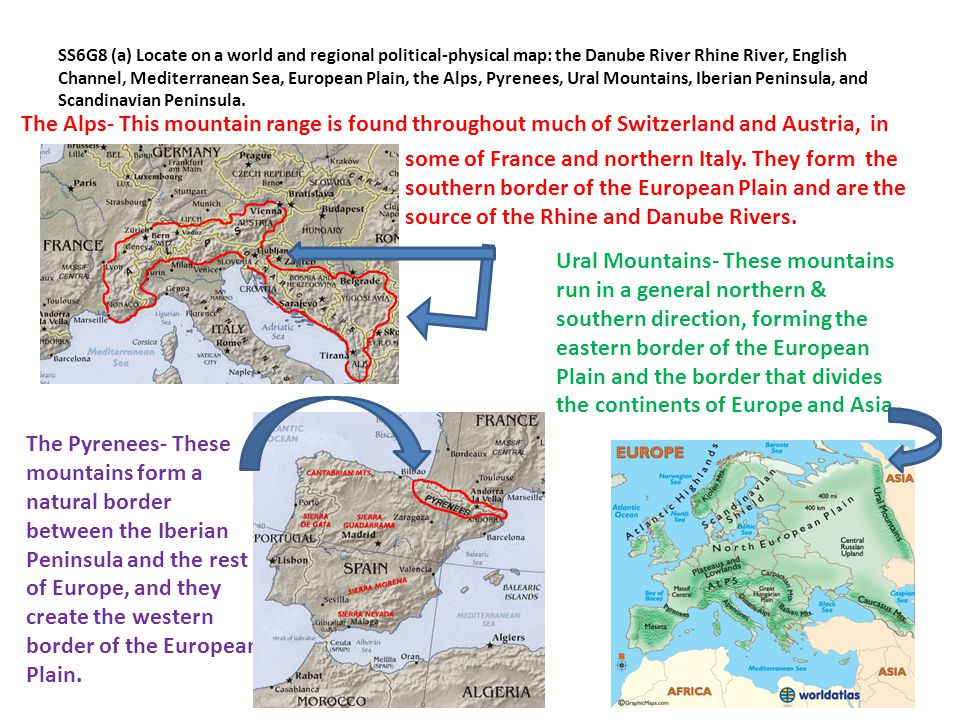 SS6G8 (a) Locate on a world and regional political-physical map: the Danube River Rhine River, English Channel, Mediterranean Sea, European Plain, the Alps, Pyrenees, Ural Mountains, Iberian Peninsula, and Scandinavian Peninsula.