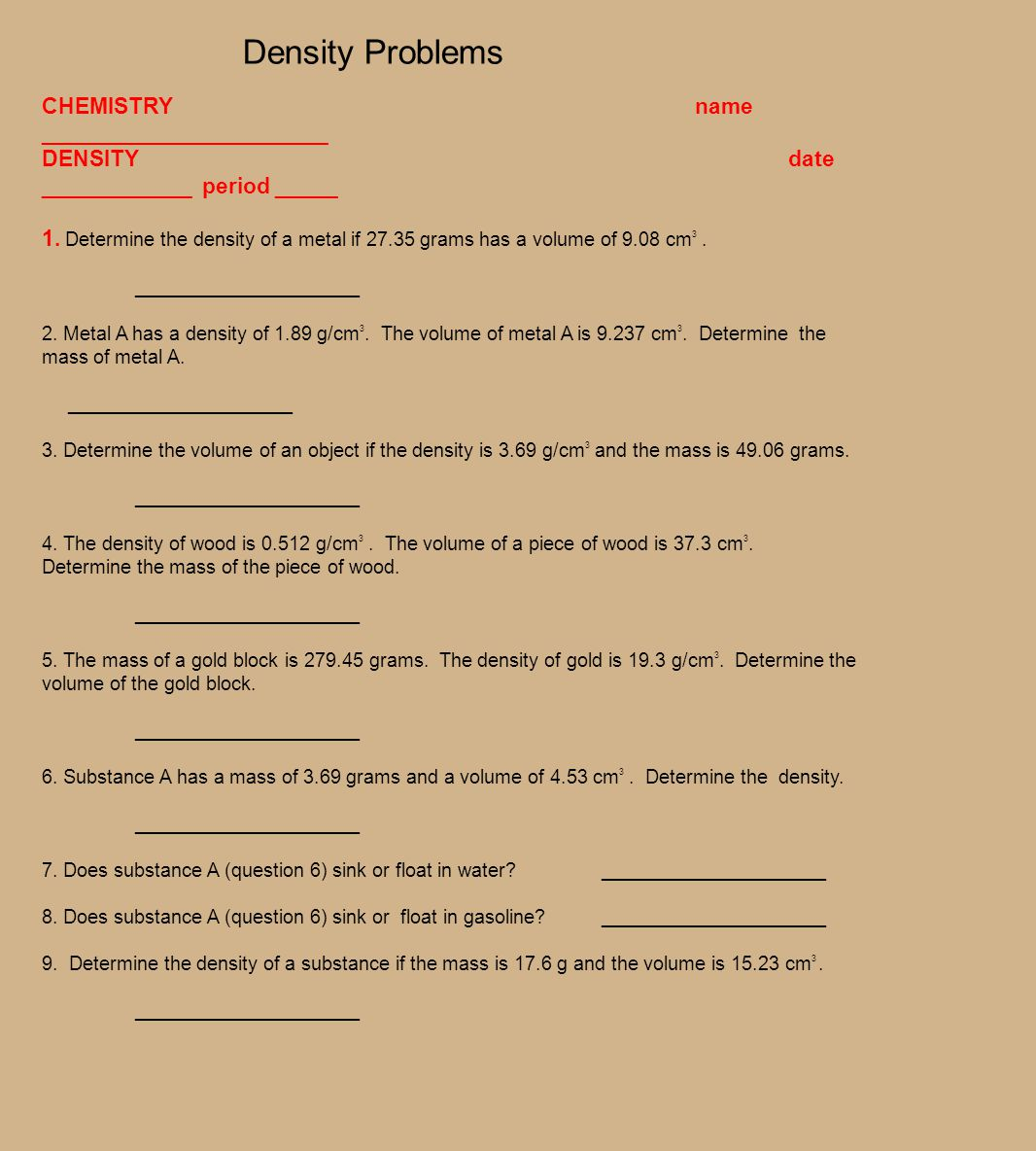 Unit 1 Worksheet 4 Applied Density Problems Answers duashadi – Density Problems Worksheet with Answers