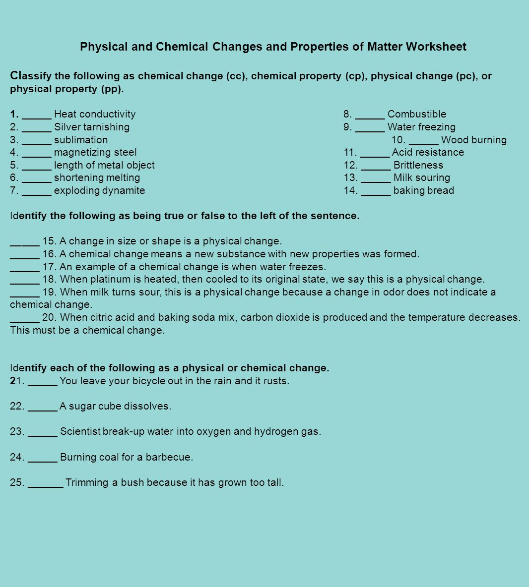 Physical and Chemical Changes and Properties of Matter Worksheet