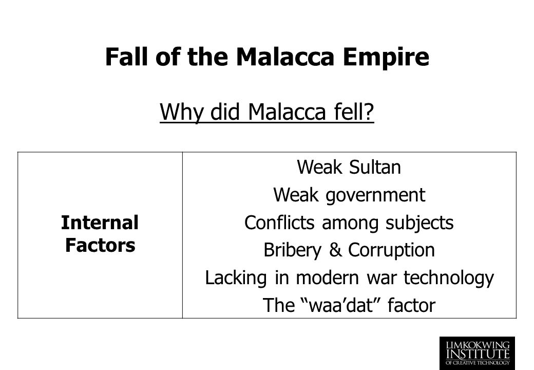 fall of malacca empire History of melaka, experience the modern and ancient historic past events,  people  parameswara had thrown off allegiance to the majapahit empire and  fled to.