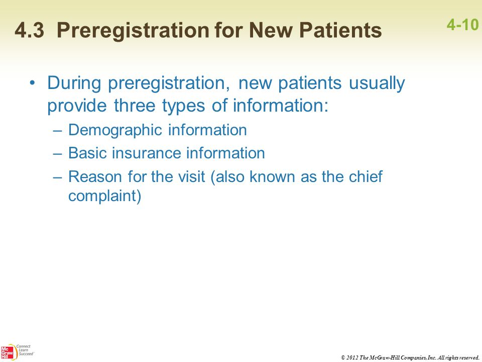 4.3 Preregistration for New Patients