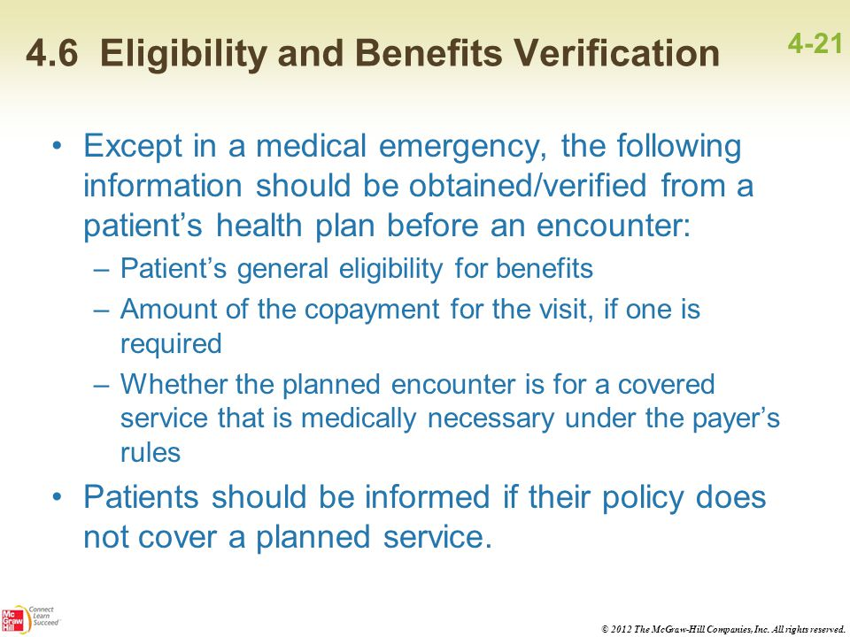 4.6 Eligibility and Benefits Verification
