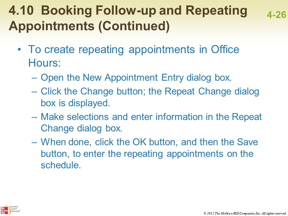 4.10 Booking Follow-up and Repeating Appointments (Continued)