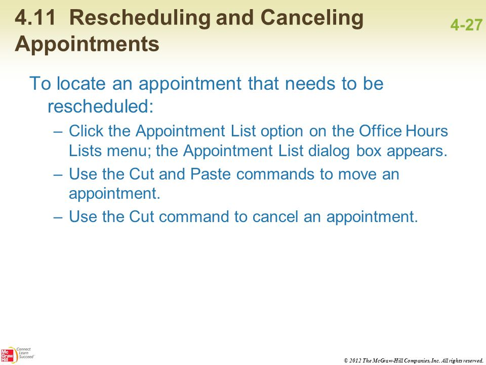 4.11 Rescheduling and Canceling Appointments