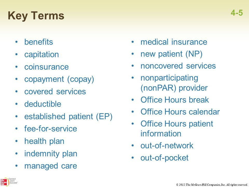 Key Terms 4-5 benefits capitation coinsurance copayment (copay)