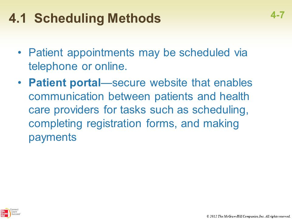 4.1 Scheduling Methods 4-7. Patient appointments may be scheduled via telephone or online.
