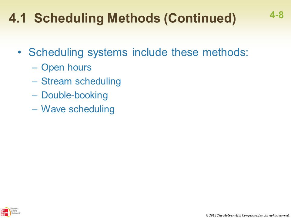 4.1 Scheduling Methods (Continued)
