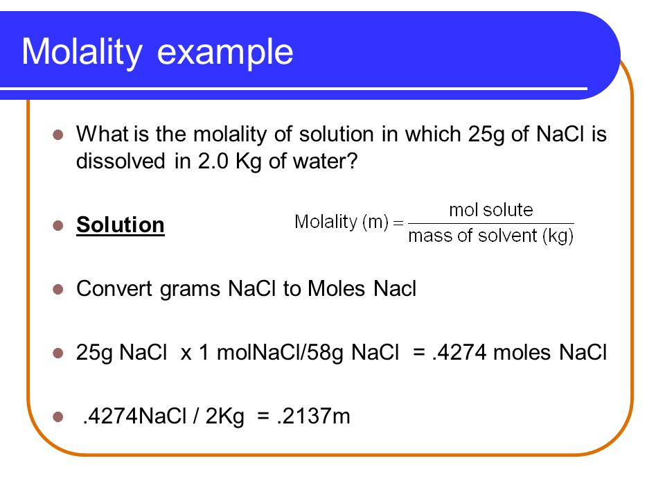 how to find molality of a solution