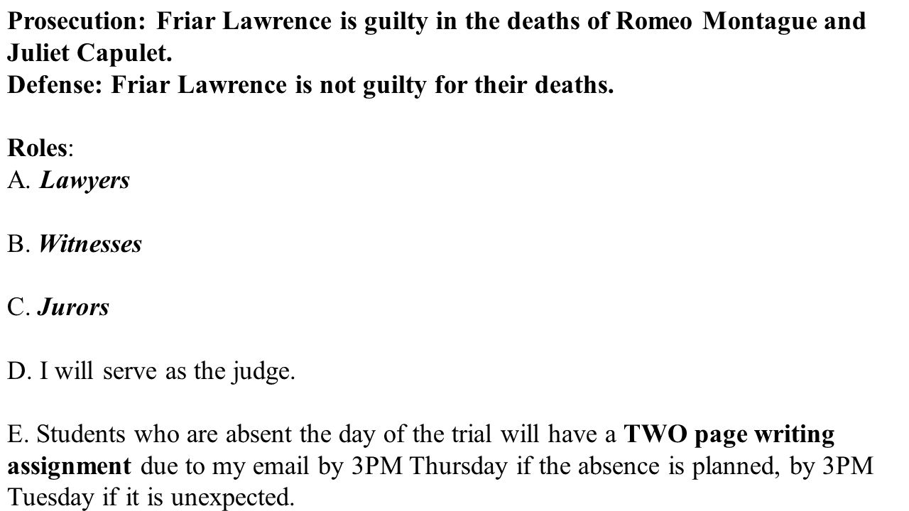 The Role of Friar Laurence in Romeo and Juliet