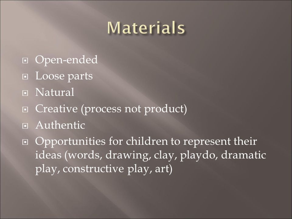 Materials Open-ended Loose parts Natural