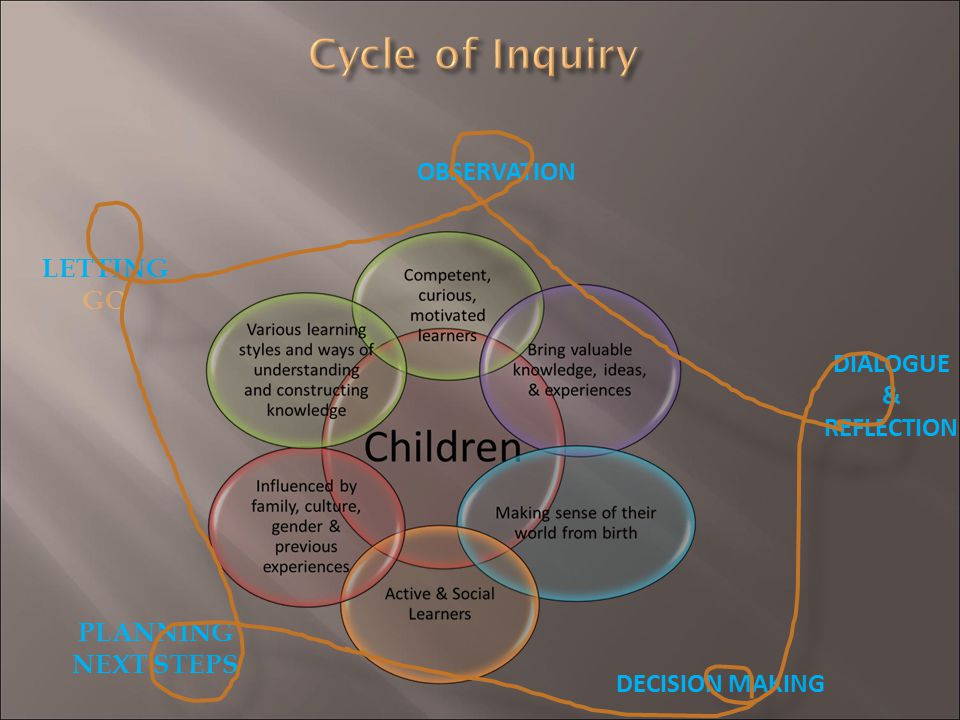 Cycle of Inquiry OBSERVATION LETTING GO DIALOGUE & REFLECTION PLANNING
