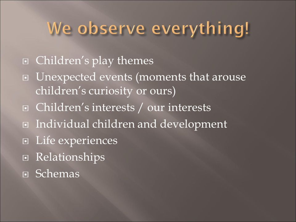 We observe everything! Children's play themes