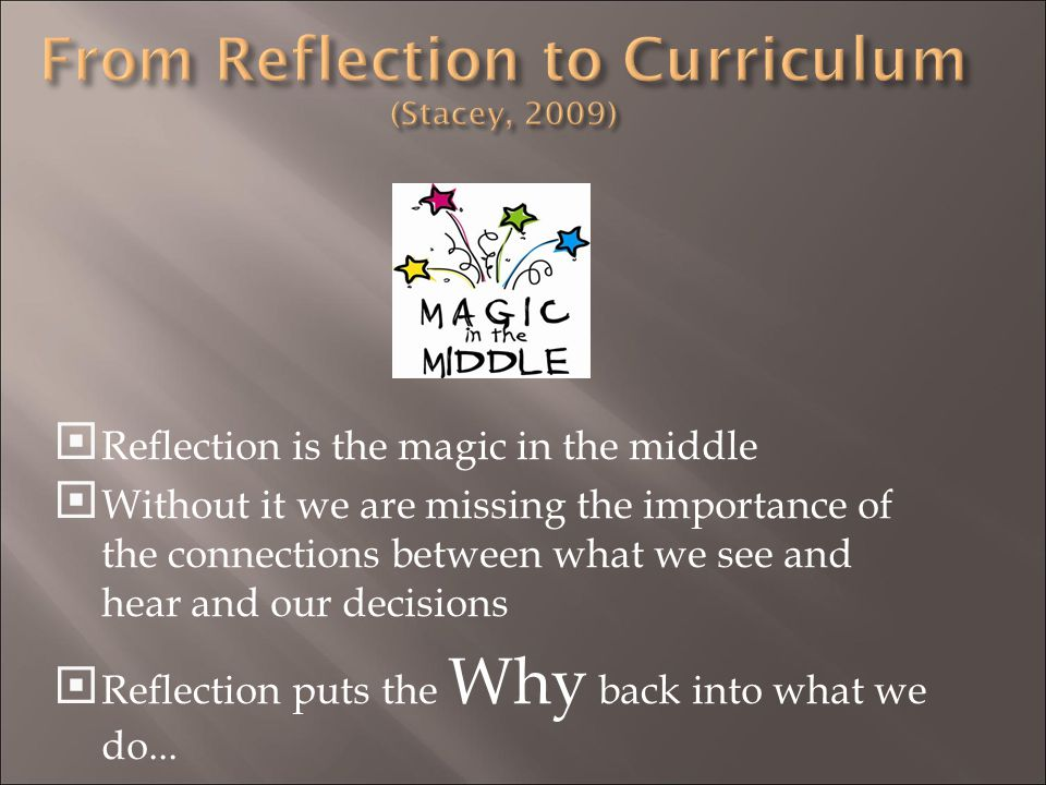 From Reflection to Curriculum (Stacey, 2009)