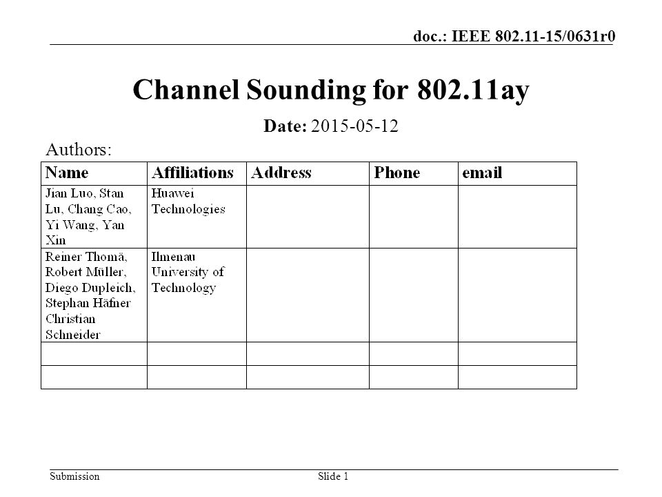 Channel Sounding for ay