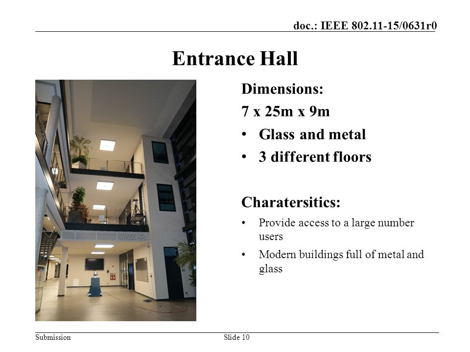 Entrance Hall Dimensions: 7 x 25m x 9m Glass and metal