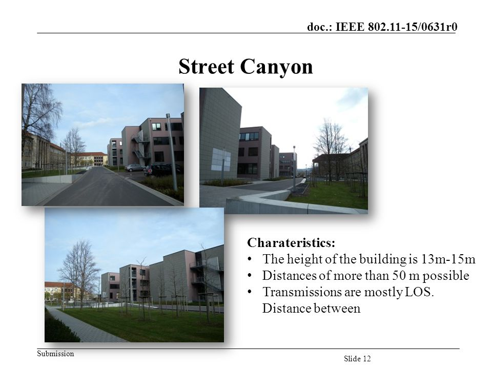 Street Canyon Charateristics: The height of the building is 13m-15m