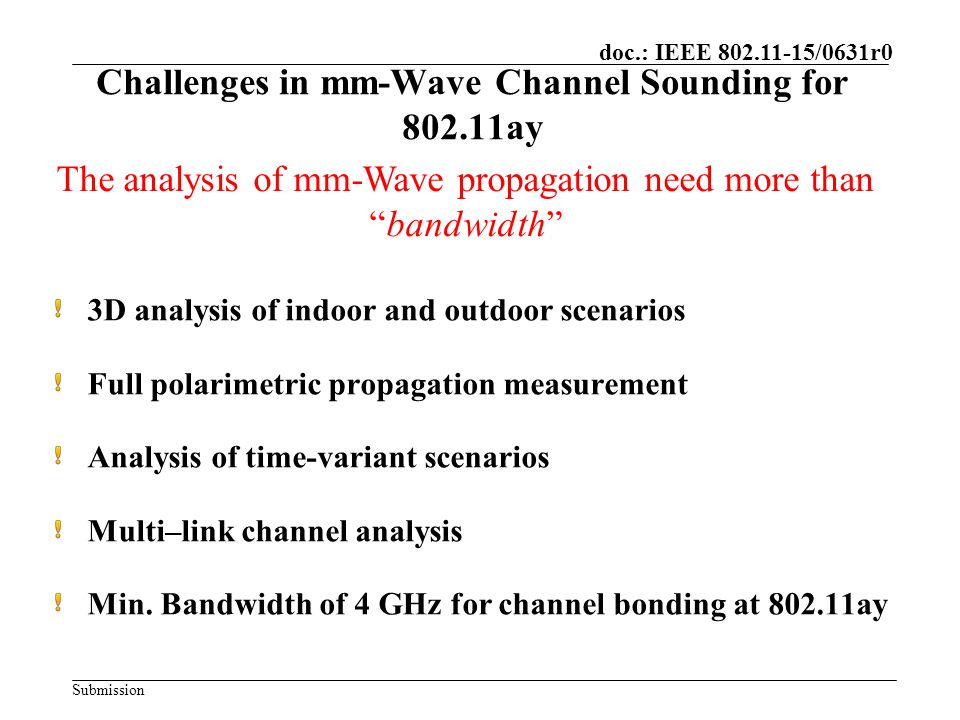 Challenges in mm-Wave Channel Sounding for ay
