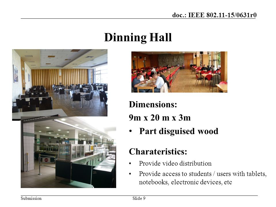 Dinning Hall Dimensions: 9m x 20 m x 3m Part disguised wood