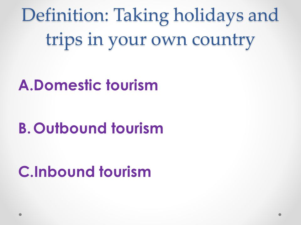 holiday in your country In holidays periods, for example, summer holidays or christmas holidays, people think about whether to travel to another country or your own country ( in my case spain) many people prefer travel to another country.