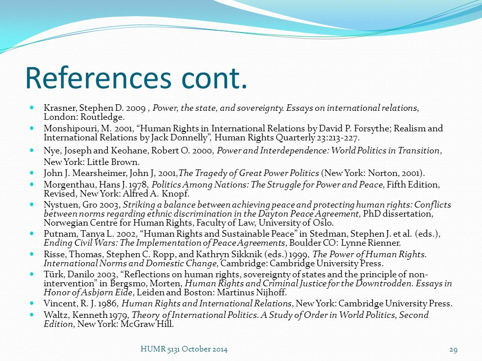 human rights in international relations ppt  29 references cont