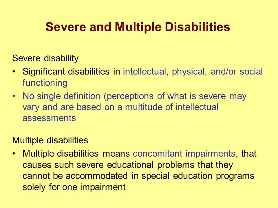 Severe and Multiple Disabilities