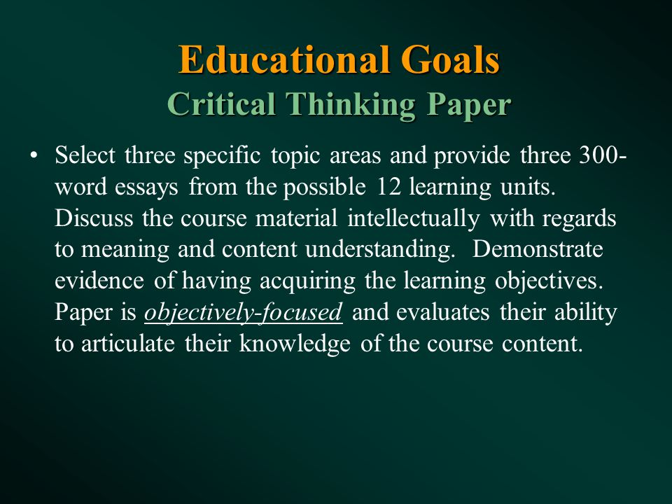 critical thinking paper essays